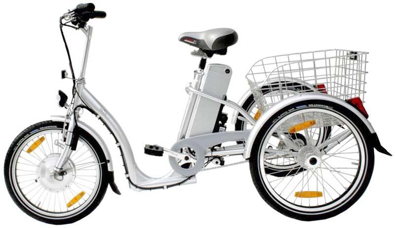 Электрический трёхколесный велосипед для взрослых
