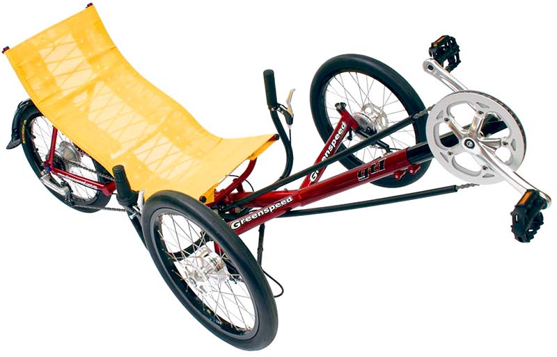 Складной лежачий трёхколёсный велосипед Greenspeed