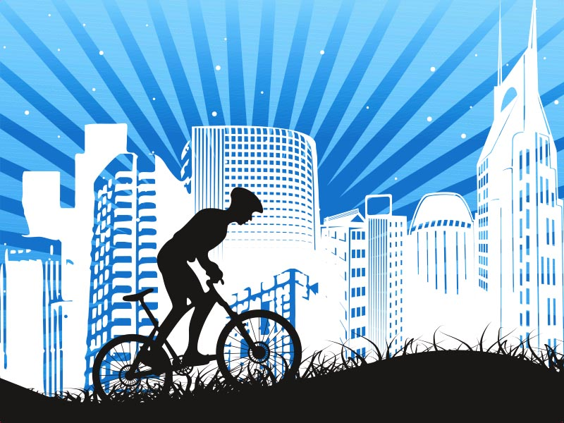 Преодоление препятствия на велосипеде