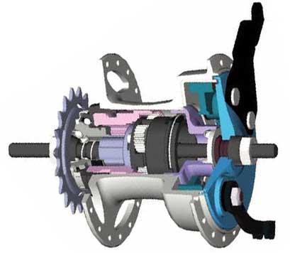 Поперечный разрез 3-скоростной втулки Sturmey-Archer с барабанным тормозом