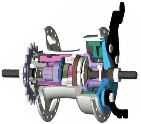 5-скоростная планетарная втулка широкого диапазона Sturmey-Archer S5W с барабанным тормозом в разрезе