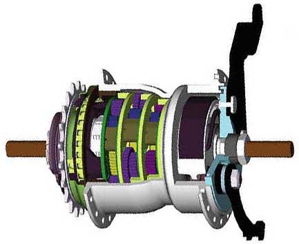 Поперечный разрез 8-скоростной планетарной втулки Sturmey-Archer X-RD8(W) с барабанным тормозом