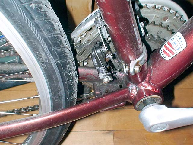 Место установки подножки на велосипед