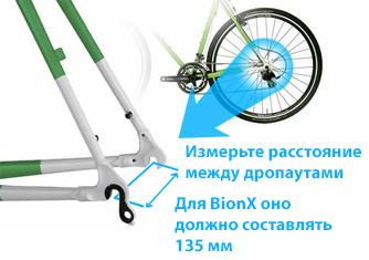 Расстояние между дропаутами для BionX 135 мм