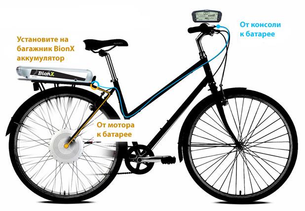 Установка электропривода BionX на женский велосипед
