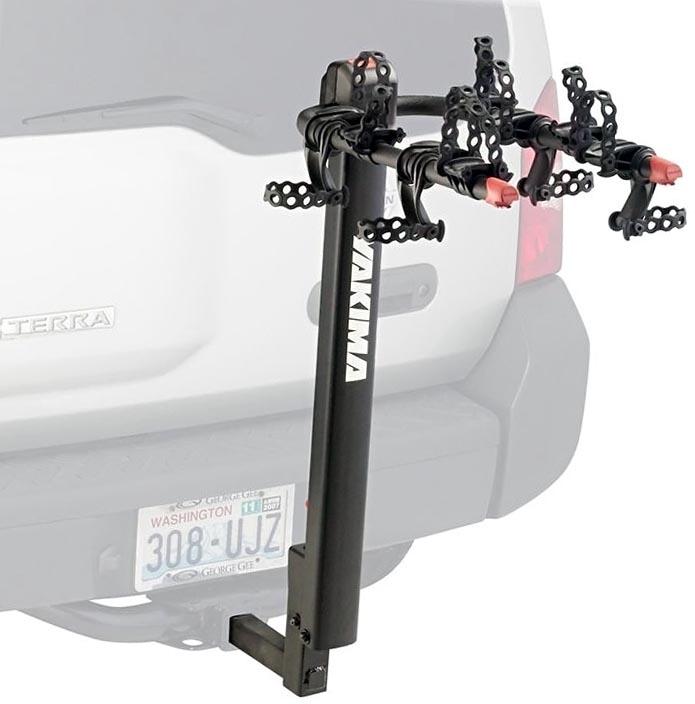 Хороший автомобильный багажник с установкой на фаркоп для четырёх велосипедов Yakima DoubleDown