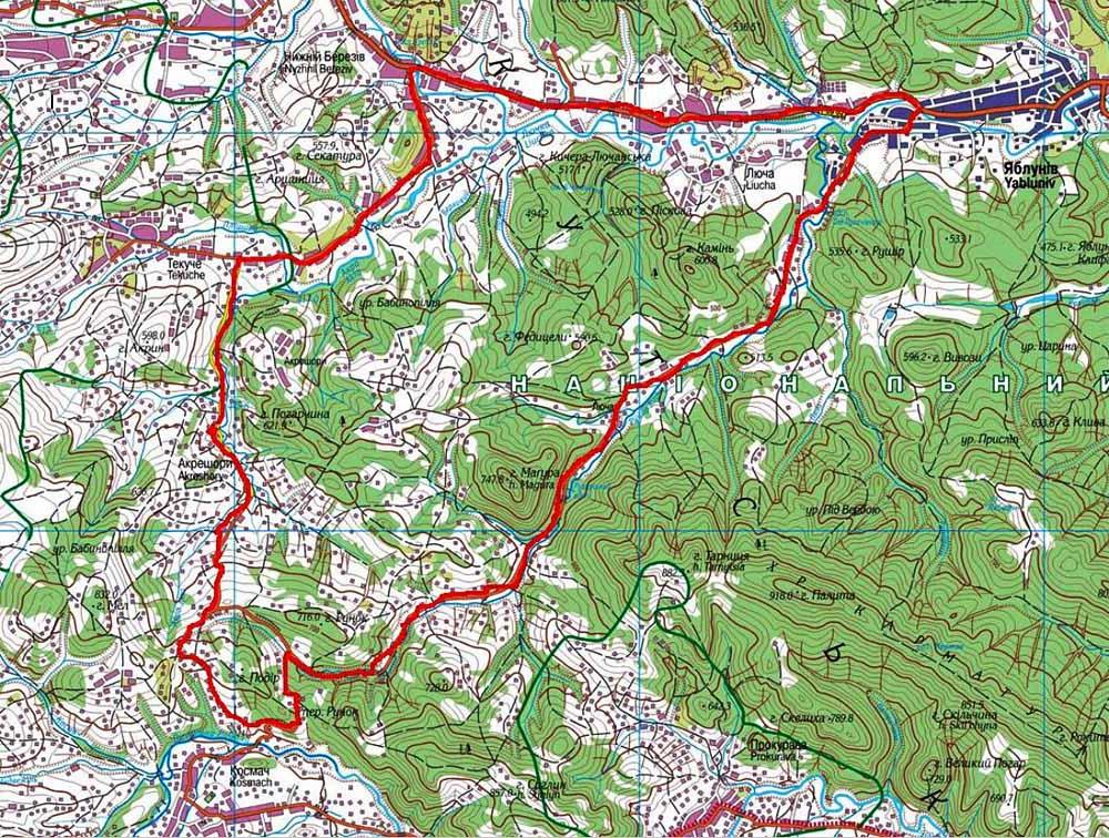 Карта велосипедного маршрута по Косовскому району