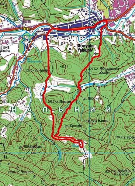 Карта велосипедного похода Карпатами по Косовскому району