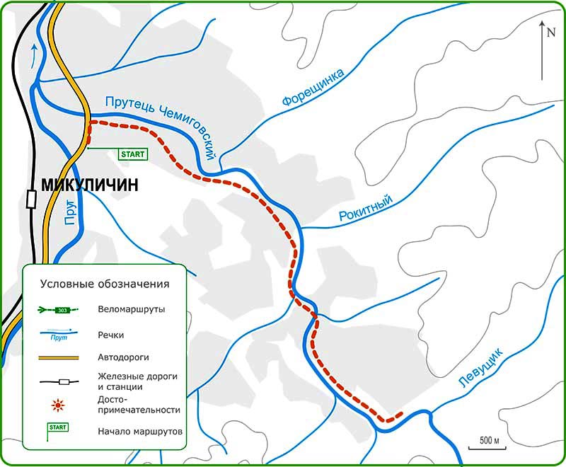 Карта велосипедного похода Карпатами из Микуличина