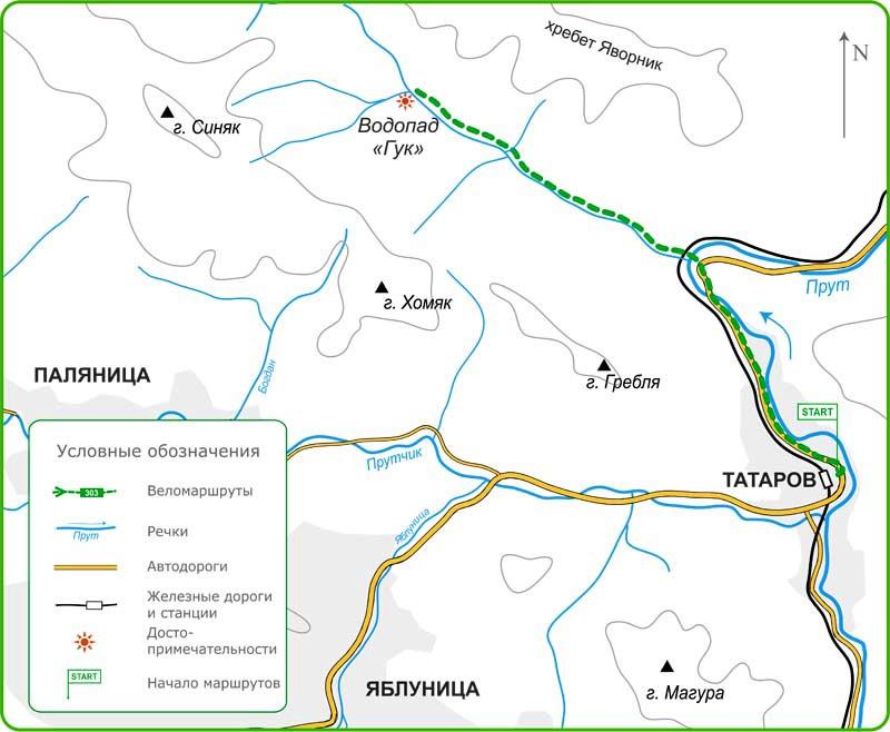Карта веломаршрутов по Яремчанского региону из Татарова