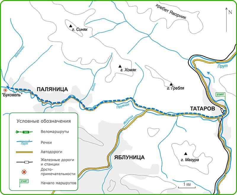 Карта веломаршрутов из Татарова