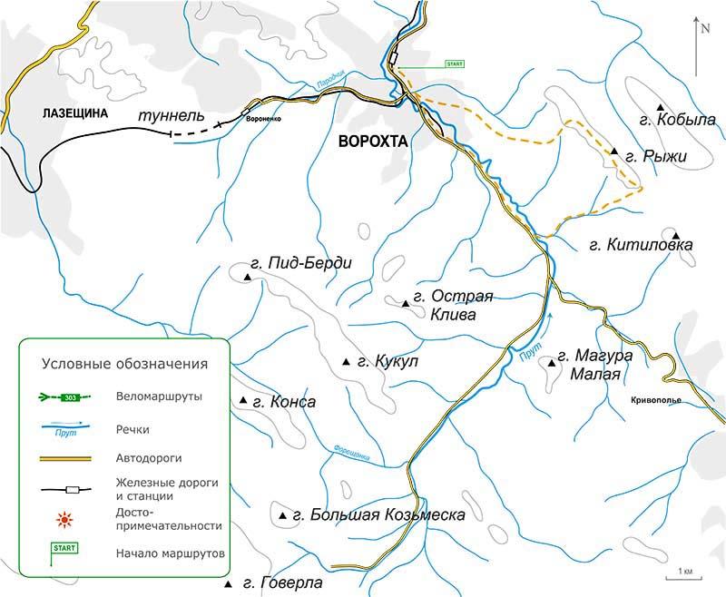Карта велосипедного похода в Карпатах