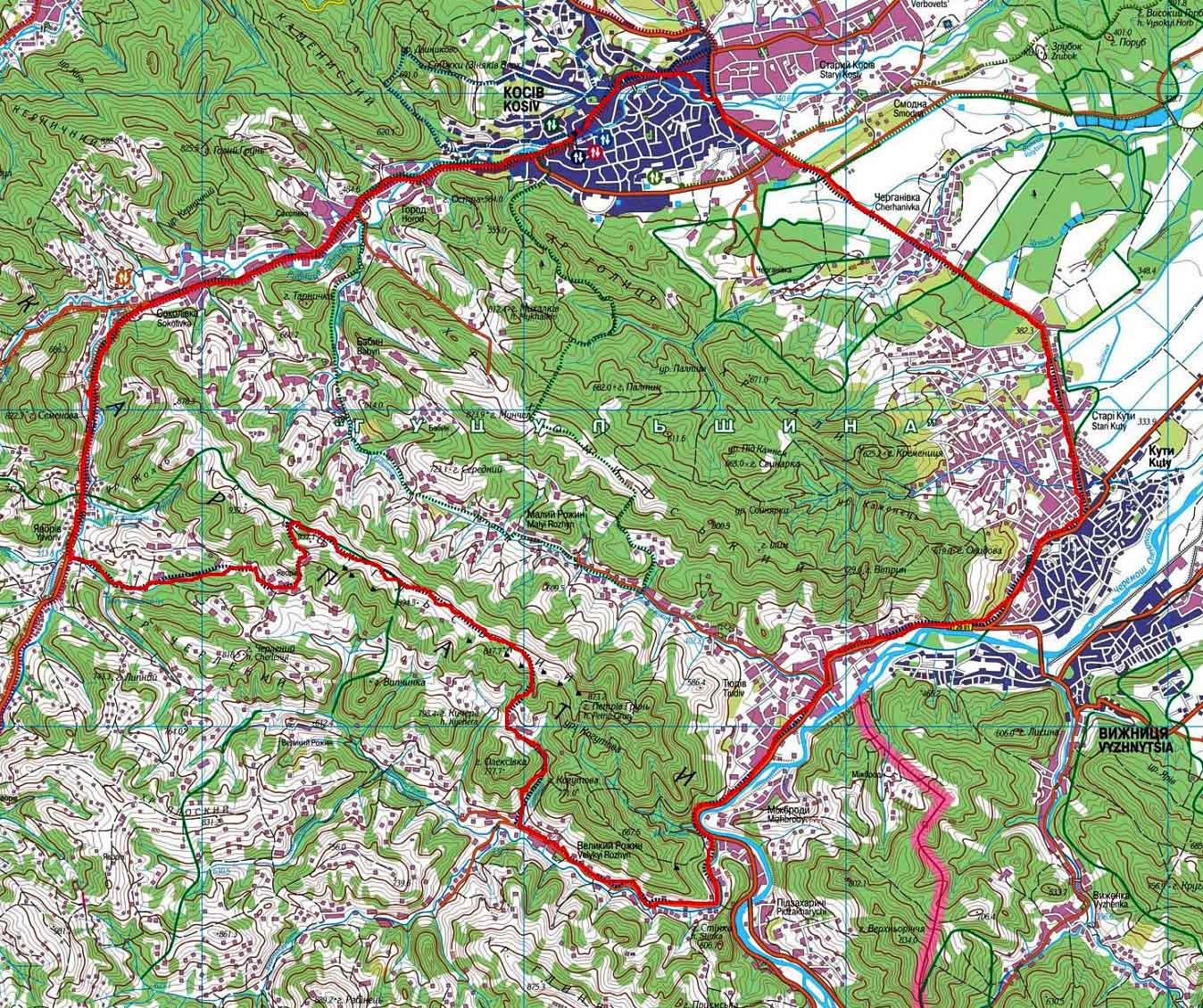 Карта туристического веломаршрута «Сокольский хребет»